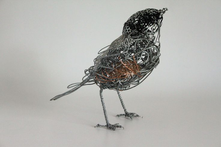 Garden Room - Sparrow - wire sculpture by Chris Moss
