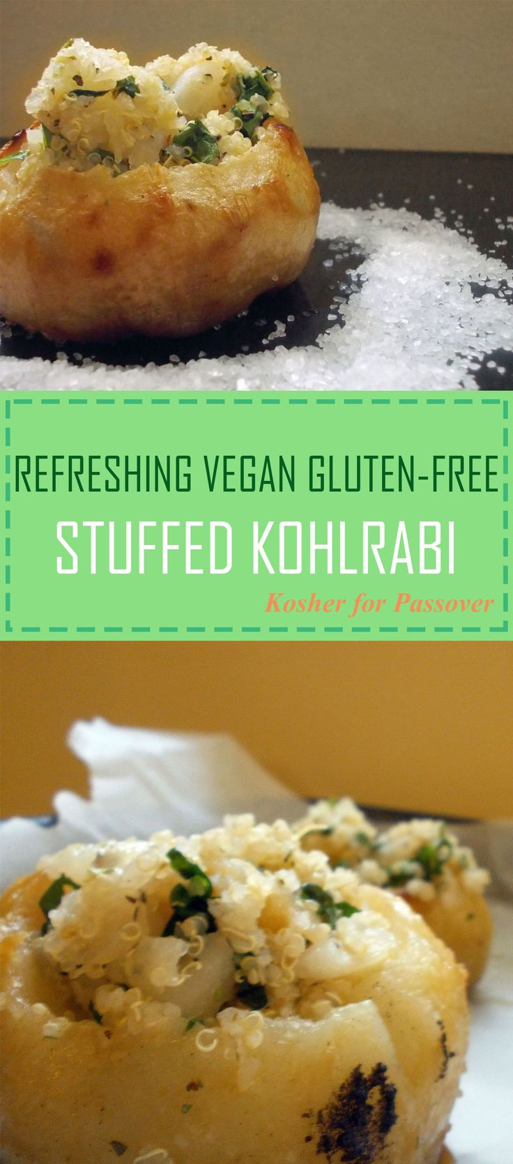 REFRESHING VEGAN GLUTEN-FREE STUFFED KOHLRABI  -- Kosher for Passover, this dish is beautiful to serve; it is healthy, nutritious and completely yummy!