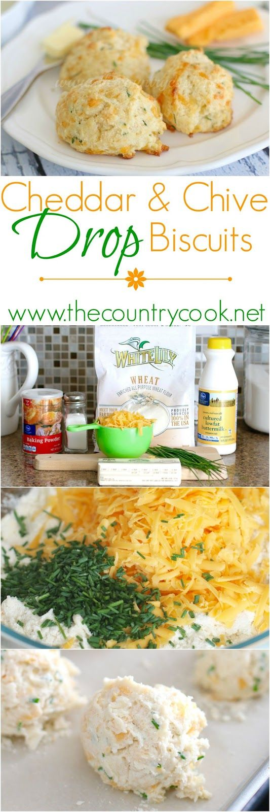 Cheddar & Chive Drop Biscuits recipe from The Country Cook. Drop biscuits are so dang easy and the ones I make most often. No rolling or biscuit cutters. I like to make these with different kinds of cheese too. Pepper jack is really good. I've also used green onions in place of the chives. Either way, really good!