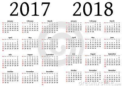 Calendario para 2017 y 2018                                                                                                                                                                                 More