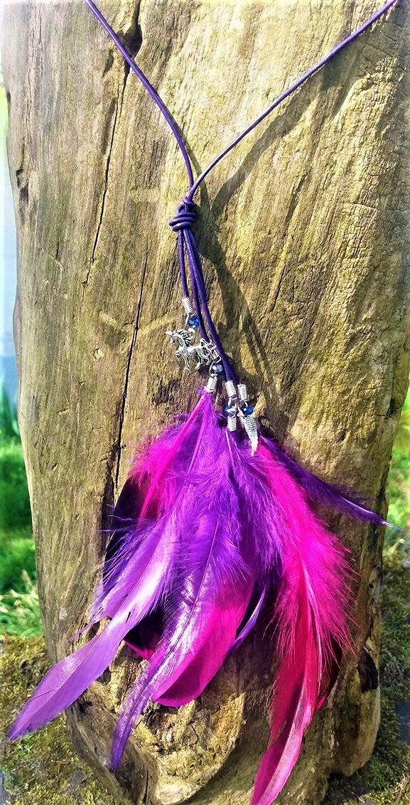 Feathers and Charm Necklace by YourDeadlyDesires on Etsy