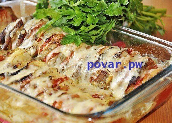 блюдо из баклажан с курицей рецепт с фото