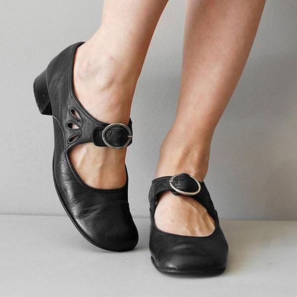 Mary janes Blau Sommer Niedrig Retro Damen Schuhe Schwarz