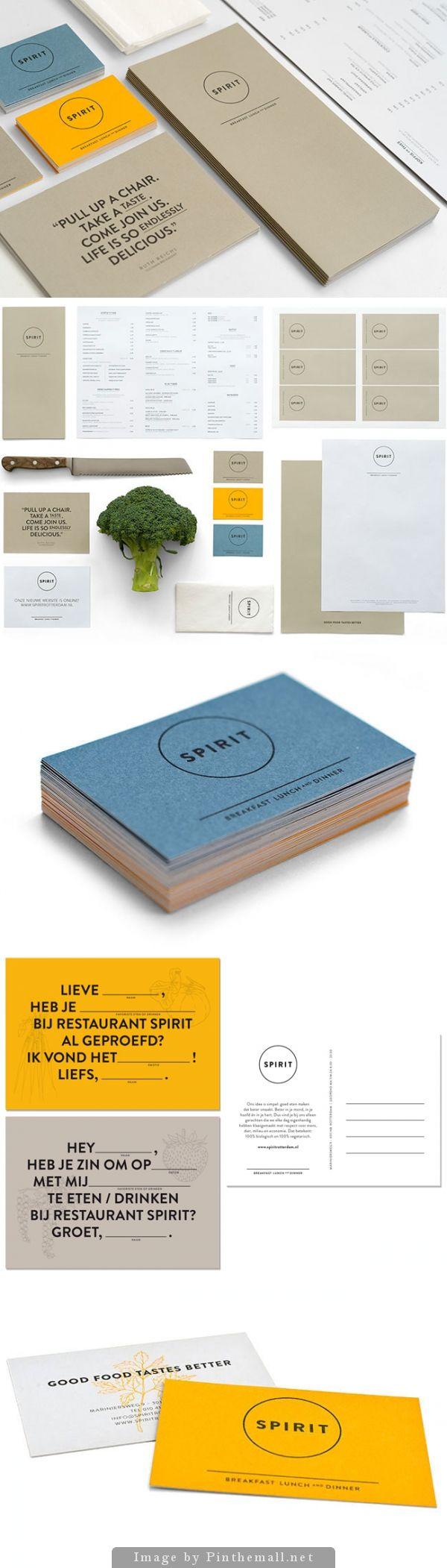 Corporate branding graphic business card menu postcard restaurant minimal colors design