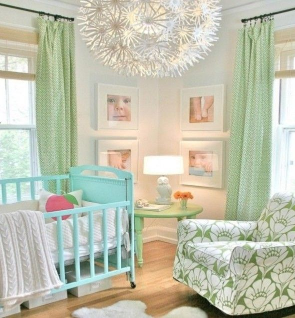 Baby Nursery Cool Fl Swivel Chair Design Feat Modern Green Room Curtain And Blue