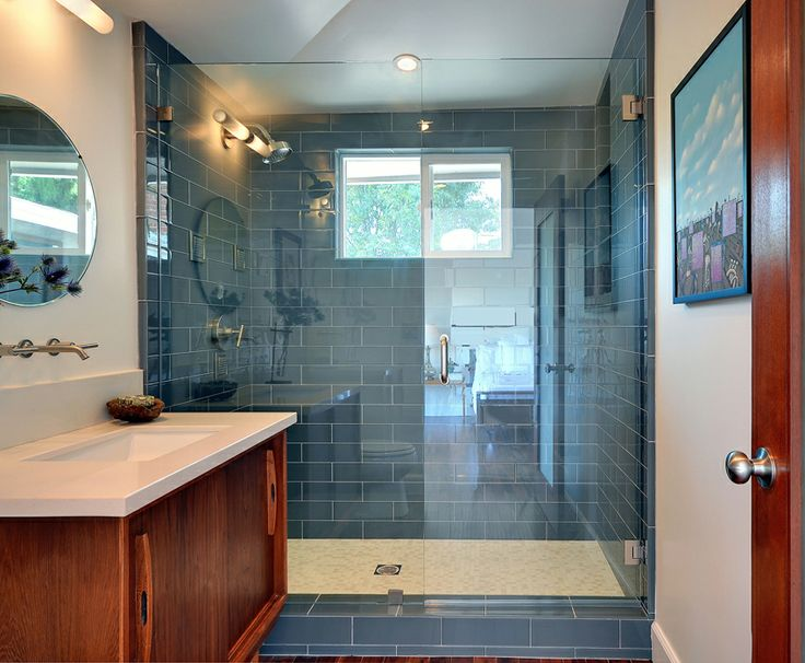 Blue Shower Idea Lush 4x12 Glass Subway Tile Fog Bank Gray River Rock Floor Black Downstairs