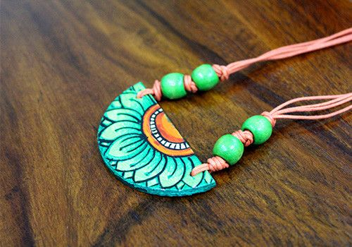 Handmade kerala mural pendant design 20 desically ethnic for Mural jewellery