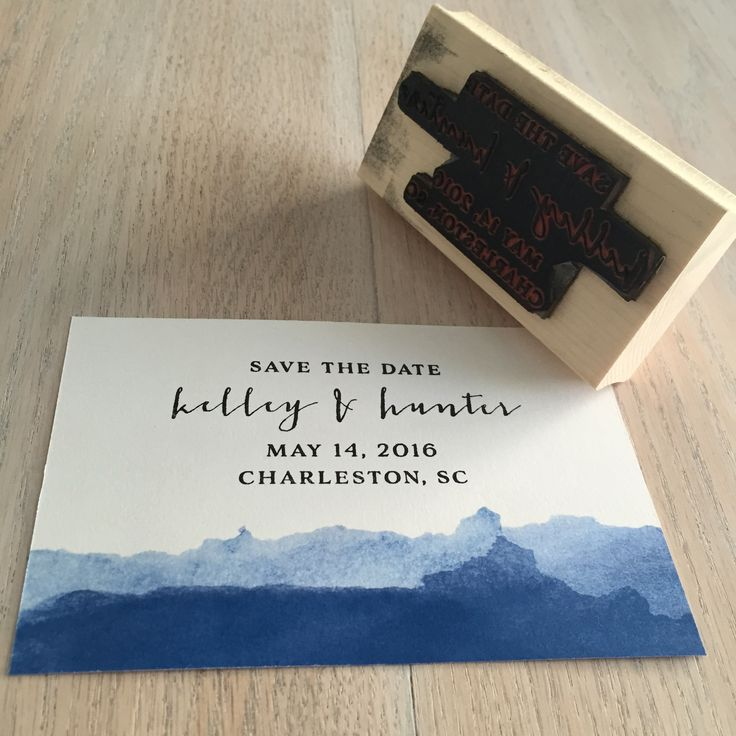 Save the date stamp for postcard, with blue watercolor
