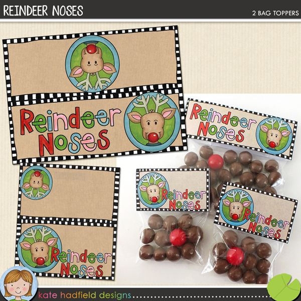 I made these last year and used sour cherry candy for the red noses, they are the perfect size!!...free printable Reindeer Noses bag toppers designed by Kate Hadfield. http://katehadfielddesigns.com/blog/reindeer-noses-freebie/