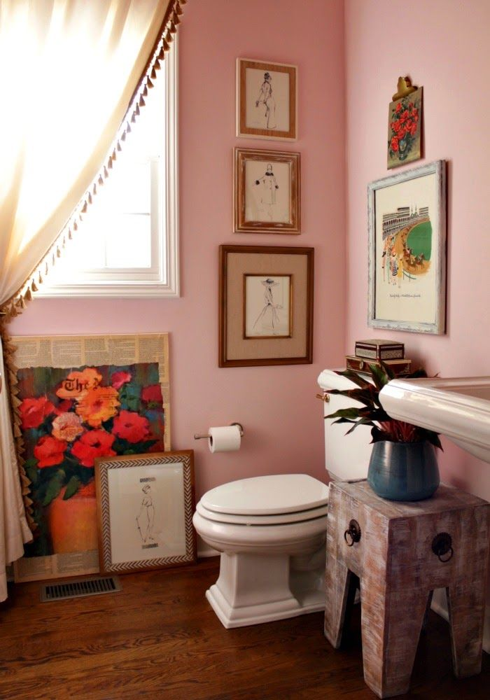 pink and red powder bathroom- - Wall Color - Charming Pink Sherwin Williams  - Ceiling Color - Porter - Apple Red