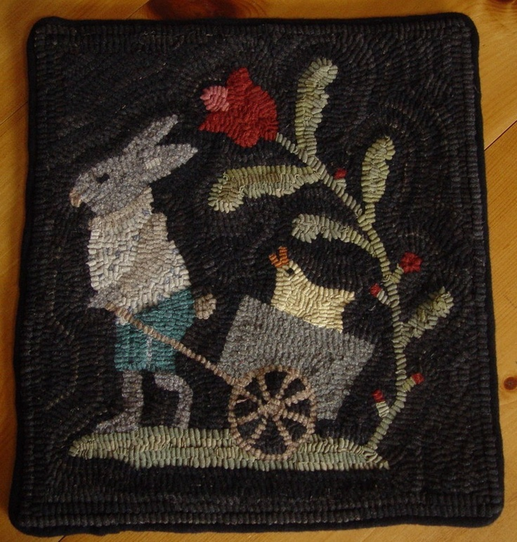 Primitive Rabbit and Chick Easter Bunny Rug Wool Hand Hooked Rug Hooking