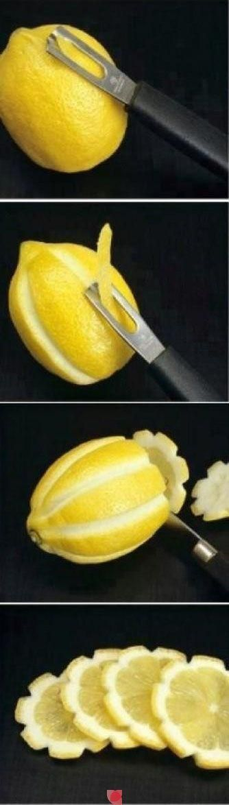 Pretty way to slice a lemon for garnish or to put in a pitcher of sweet tea! Looks like a flower!
