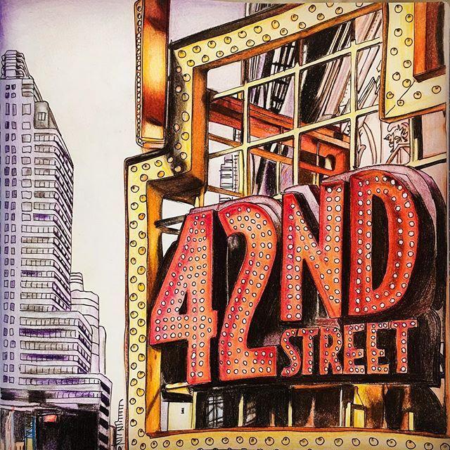 #ニューヨークの小さな夢 #大人ノ塗リ絵 #coloring #coloringbook #adultcoloringbook #coloriage #zoedelascases #secretnewyork #secretnewyorkcoloringbook #コロリアージュ #newyork #42ndstreet