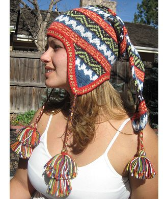 Alpaca Chullo, Adult Long Knit Hat  What could be better than a long alpaca chullo on your head?! Our Alpaca Chullo, Adult Long Knit Hat is fun anywhere. Great on the ski slopes or around town. Cool fun fashion with that special alpaca feel and warmth. www.purelyalpaca.com