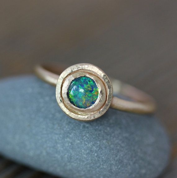 14k Gold and Blue Opal Triplet Halo Ring, Rustic, Hammered Gold Ring,