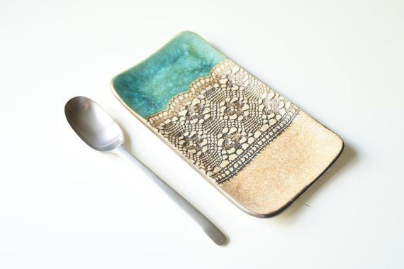 Spoon Holder Ceramic Plate Rustic Spoon Rest Coin Holder by bemika
