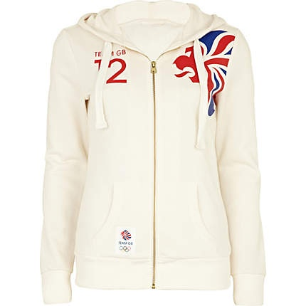 white team gb print hoodie - sweaters / hoodies - t shirts / vests / sweats - women - River Island