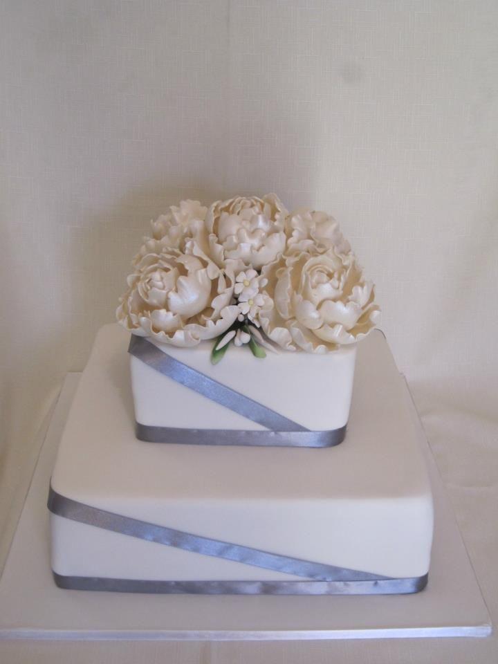 Sugar Peony roses on a 2 tier cake