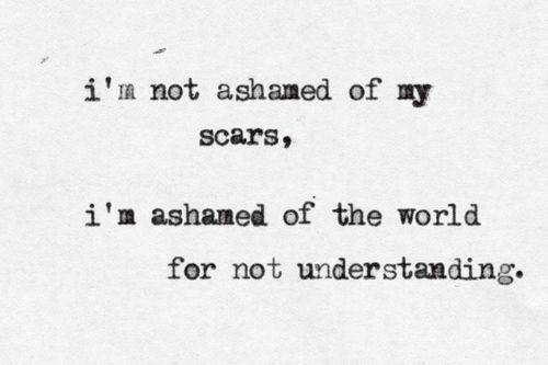 I'm Not Ashamed Of My Scars, I'm Ashamed Of The World For