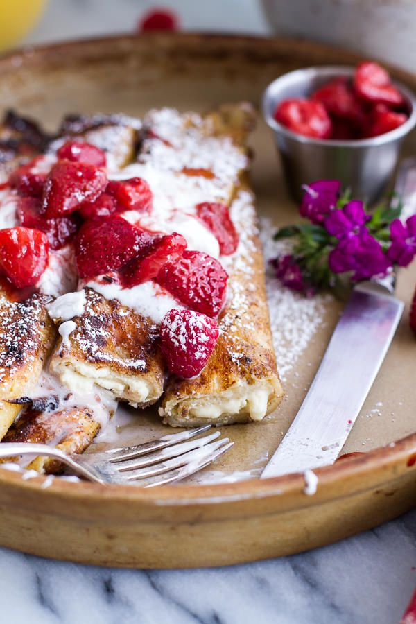 Lemon Ricotta Cheese Stuffed French Toast Crepes with Vanilla Stewed Strawberries