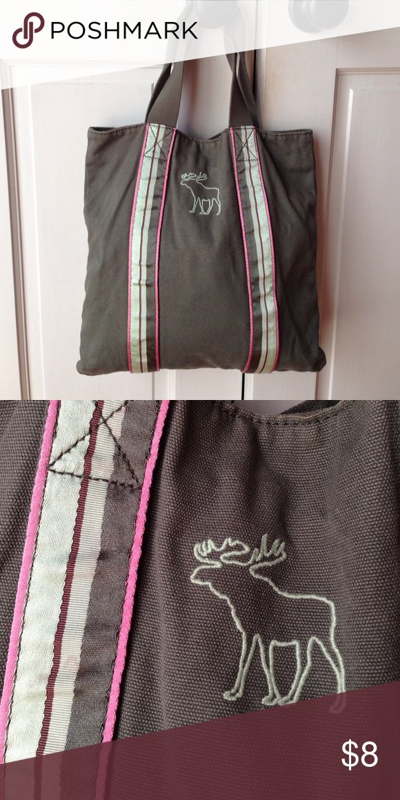 Abercrombie and Fitch tote bag Army Green with pink detailing 13 1/2 inches tall by 13 1/2 inches wide. Abercrombie & Fitch Bags Totes