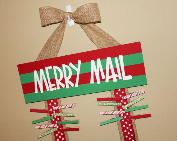 Merry Mail Christmas Card Holder Display Burlap Ribbons  Wooden hand painted cute sign clothespins on Etsy, $43.00