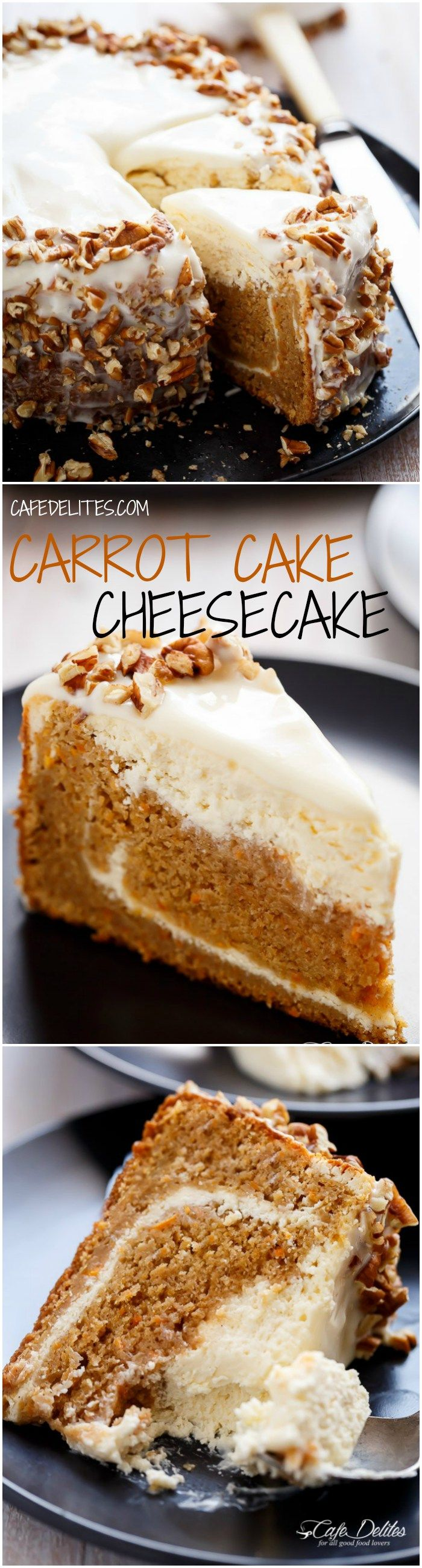 Carrot Cake Cheesecake to add to your Easter menu planning! A fluffy and super moist, lower in fat, lighter in calories carrot cake layered with a creamy, lemon scented cheesecake. The BEST of both worlds!   http://cafedelites.com