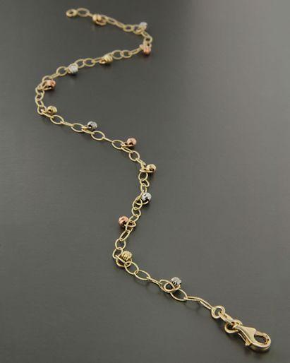 Τρίχρωμη αλυσίδα ποδιού χρυσό, ροζ χρυσό & λευκόχρυσο Κ14