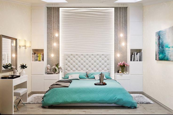 Двухуровневая квартира в морском стиле : Спальня в стиле минимализм от Студия дизайна Interior Design IDEAS