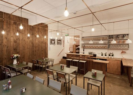 Piping as a motif for conduit and grid of fixtures  London Cafe, TwistInArchitecture