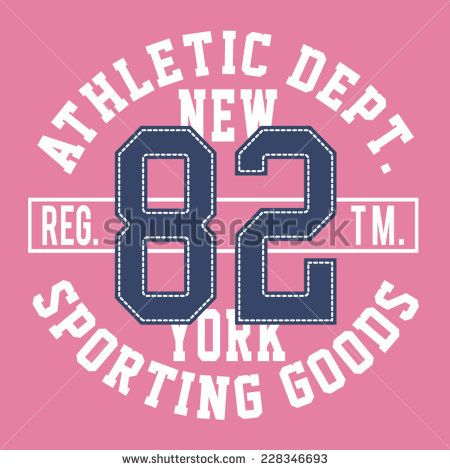 College athletic girl typography, t-shirt graphic, vector - stock vector