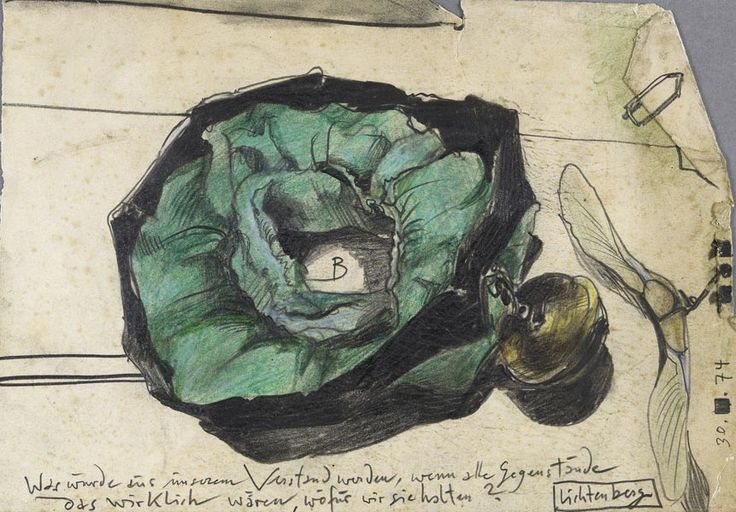 Untitled/Green Clamp Band with Lichtenberg Quote (pencil, pastel and colored pencil on old paper) 1974, Horst Janssen