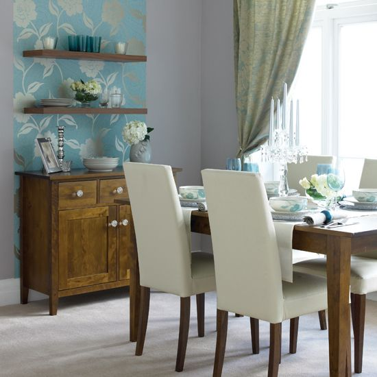 blue dining room - wallpaper: Dining Rooms, Diy Ideas, Wall Decor, Decor Ideas, Wall Spaces, Kitchens Dining, Interiors Design, Wallpapers Ideas, Rooms Ideas