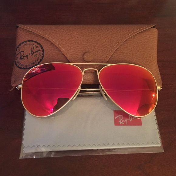 Ray Ban | Red Orange Flash Aviators These are great, but I'd like to get the pink/purple ones! Looking for a good home! One minor scratch that won't show up in photos. Ray-Ban Accessories Sunglasses