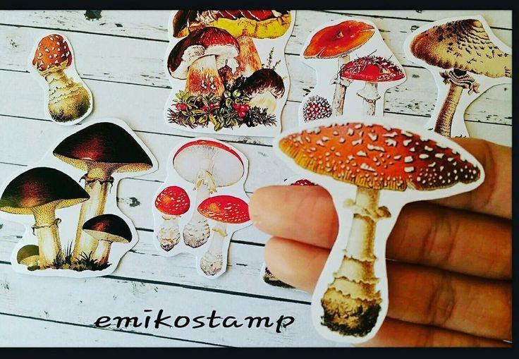 Vintage Mushroom Stickers,Toadstools Mushroom,Vintage ephemera,Die-Cut Decoupage