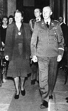 Heydrich and his wife Lina attending a concert in Waldstein Palace in Prague, 26 May 1942, the day before the assassination attempt that led to his death on 4 June 1942