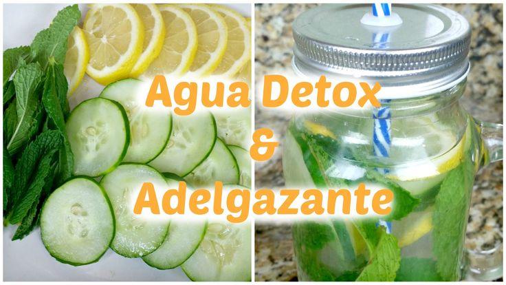 Agua adelgazante y Detox de pepino, menta y lima. Esta agua es diurética, deliciosa y muy refrescante.