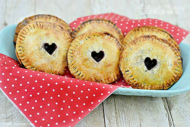 Nutella and Blackberry Valentine's Day Hand Pies from FOLK and At The Picket Fence.