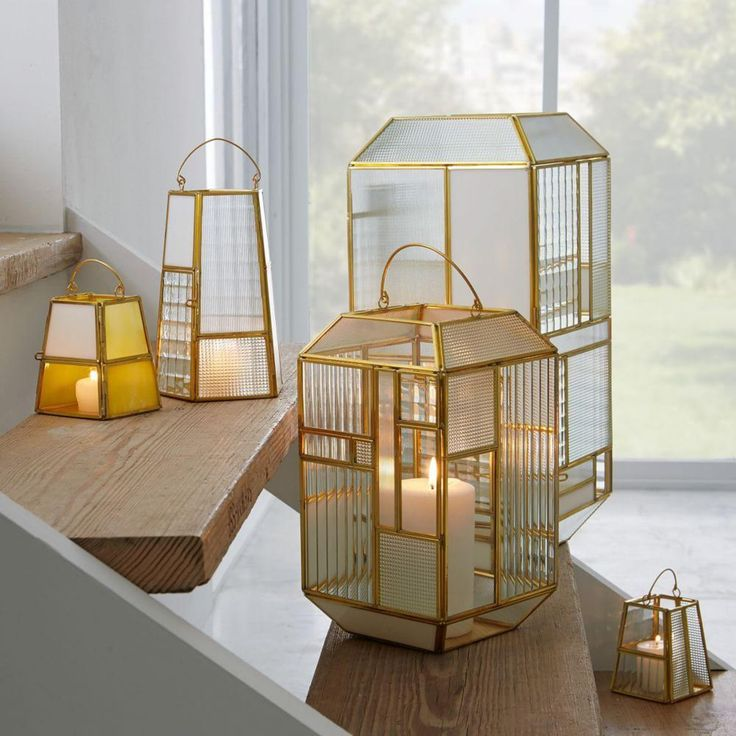 Panelled Glass Lanterns - White/Gold