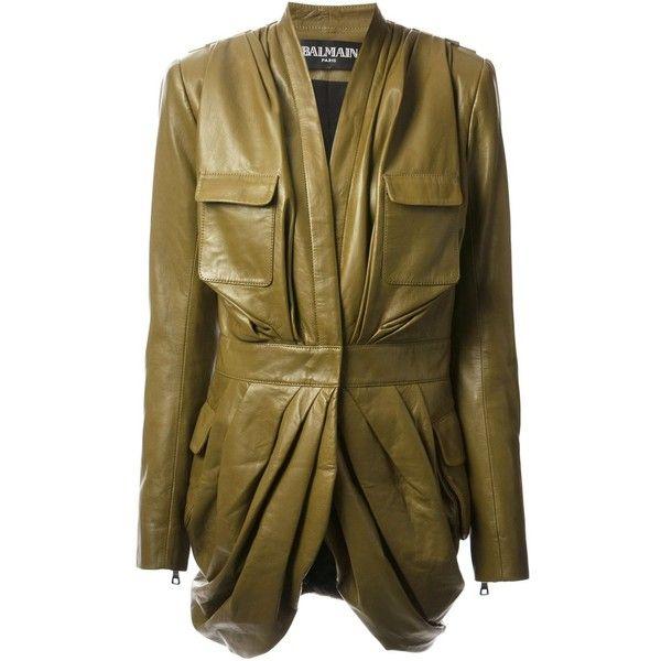 BALMAIN draped coat (13.160 BRL) ❤ liked on Polyvore featuring outerwear, coats, jackets, balmain, coats & jackets, long sleeve coat, brown coat, drape coat and pleated coat
