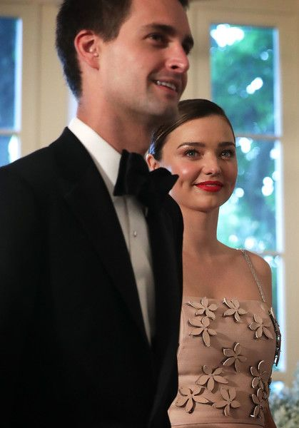 Snapchat CEO Evan Spiegel and his model girlfriend Miranda Kerr arrive at a Nordic State Dinner May 13, 2016 at the White House in Washington, DC. President Barack Obama and the first lady are hosting the heads of the five Nordic nations for a U.S.-Nordic Leaders Summit. - President Obama Hosts Nordic Leaders For State Di