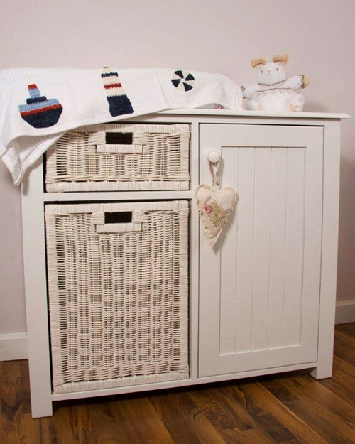Two basket compactum in white – Size 105cm x 48cm x 90cm high  - Bottom basket a good size, perfect for dirty laundry or for bulky items like teddies and toys  Made from clear A-Grade pine, each piece has been expertly crafted and features fine groove detailing with elegant trims. This range is finished in a fresh shade of Soft White.