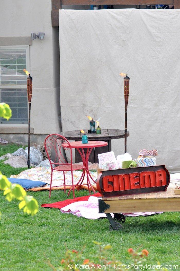 Tiki brand GIVEAWAY! Backyard movie party by Kara Allen | Kara's Party Ideas for TIKI Brand!