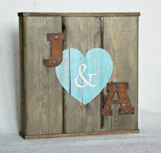 Valentine sign sign with initials heart and wood scraps - featured at KnickofTime.net