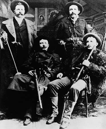 Frank James, Jesse James, Cole Younger, and Bob Younger