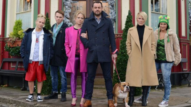 Danny Dyer as Mick Carter, alongside his on-screen family. (BBC One)