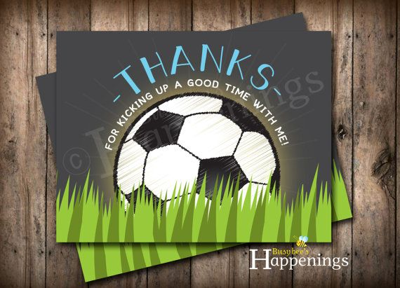 Soccer Ball Thank You Cards Soccer Party by BusyBeesHappenings