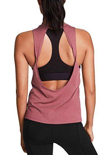 1775a25eeb66c2 Mippo Women s Sexy Backless Shirt Yoga Gym Twist Open Back Tank Plain  Sleeveless Comfort Summer Workout Tank Tops Activewear for Juniors Dusty  Rose M