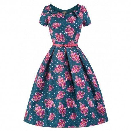 Lindy Bop Belina roze bloemen & stippen blauwe theejurk