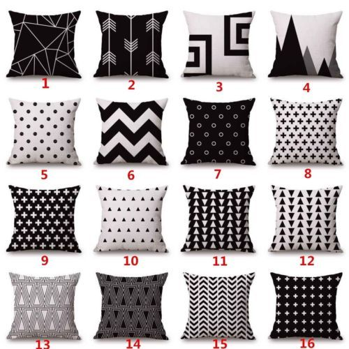 cotton linen black beige geometry cushion cover bed sofa throw decor pillow case